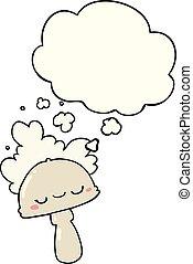 hongo, spoor, burbuja del pensamiento, caricatura, nube