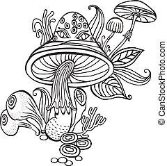 hongos, libro colorear, página, adulto