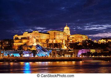 hongrie, budapest, château, coucher soleil
