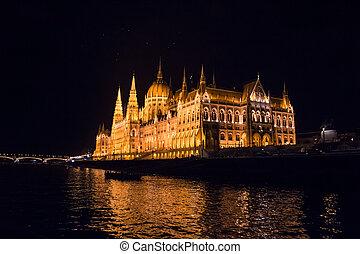 hongrie, parlement, budapest, nuit, hongrois