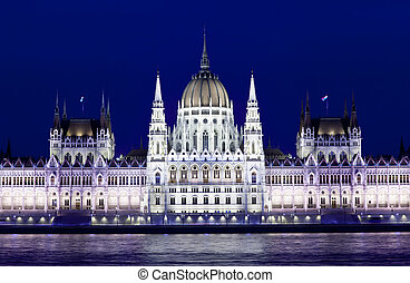 hongrie, parlement, budapest, nuit