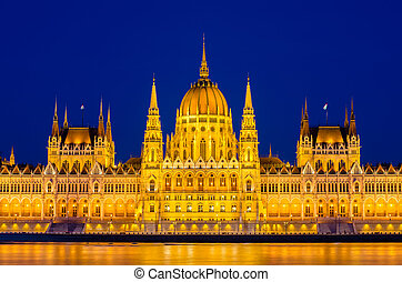 hongrie, parlement, nuit, budapest
