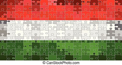 hongrie, puzzle, fait, drapeau, fond