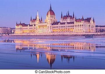 hongrois, bâtiment, hiver, parlement