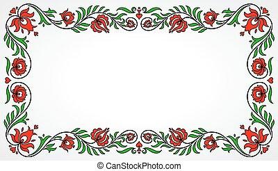 hongrois, cadre, traditionnel, motives, floral, vide