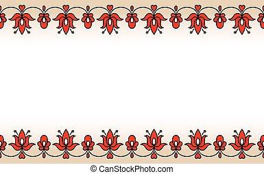 hongrois, seamless, traditionnel, bande, motives, floral, rouges