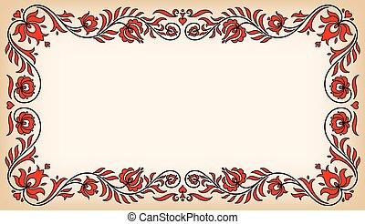 hongrois, vendange, cadre, traditionnel, motives, floral