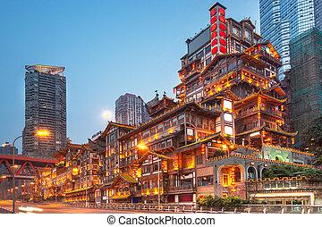 hongyadong, chongqing, kína, félhomály