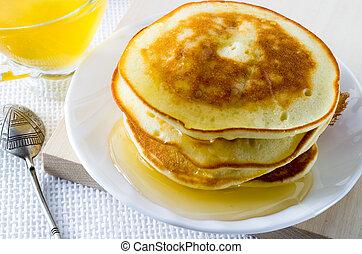 honig, platte, weißes, pfannkuchen
