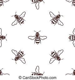honigbienen, vektor, seamless, licht, muster