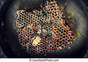 honing, closeup, imker, oud, gereedschap