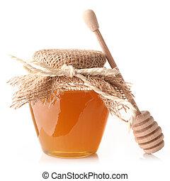 honing, met, hout, stok