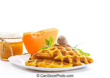 honing, pompoen, waffles