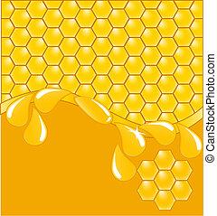 honingraat, achtergrond, met, druppels