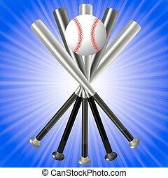honkbal bal, knuppels