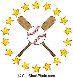 honkbal bal, knuppels, sterretjes