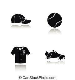 honkbal, black , schaduw, iconen, set, druppel