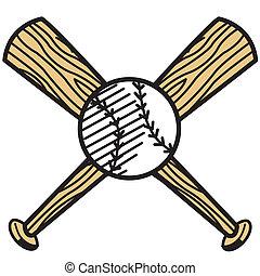 honkbal, en, vleermuis, knip kunst