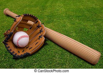 honkbal glove, en, bal, op, gras