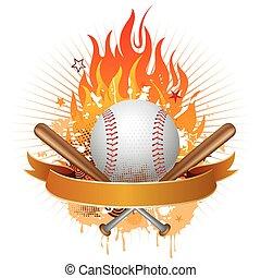 honkbal, met, vlammen