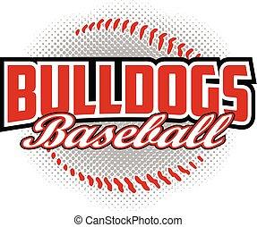 honkbal, ontwerp, bulldogs