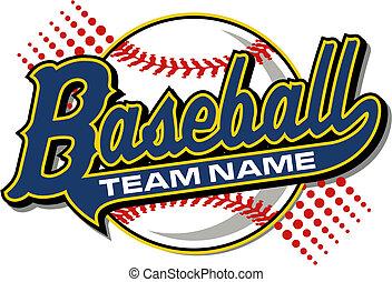 honkbal, ontwerp, met, staart