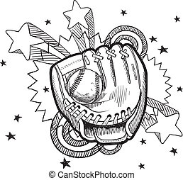 honkbal, schets, handschoen