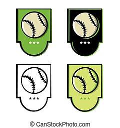 honkbal, set, embleem, iconen