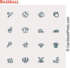 honkbal, set, pictogram, vector