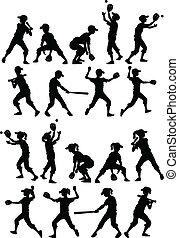 honkbal, softbal, geitjes, silhouettes