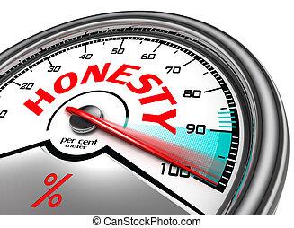 honnêteté, cent, mètre, par
