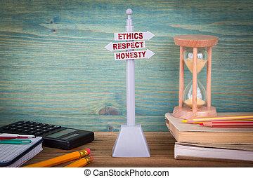 honnêteté, code, bois, poteau indicateur, conduct., table, respect, éthique