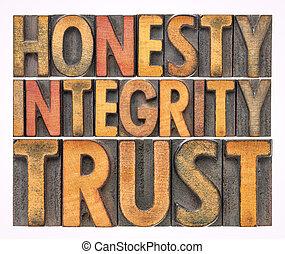 honnêteté, mot, résumé, bois, intégrité, confiance, type