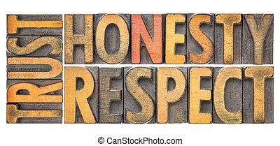honnêteté, mot, résumé, bois, respect, confiance, type