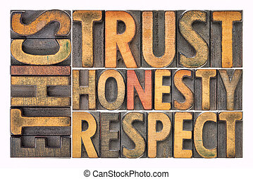 honnêteté, mot, résumé, confiance, bois, respect, type, éthique