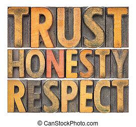 honnêteté, mot, résumé, confiance, bois, respect, type
