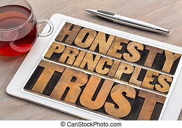 honnêteté, mot, résumé, principes, confiance, ontablet