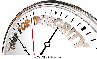 honnêteté, réputation, confiance, intégrité, horloge, temps, illustration, 3d