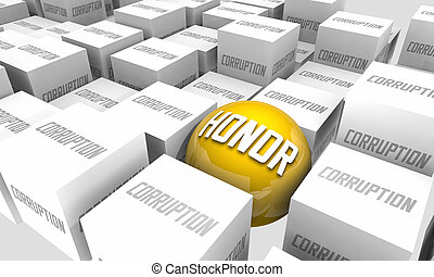 honneur, contraires, intégrité, 3d, vs, combat, illustration, fraude, corruption