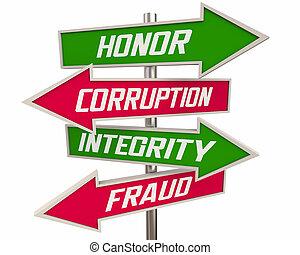 honneur, signes, flèche, mieux, intégrité, 3d, vs, caractère, illustration, sur, fraude, réputation, corruption, traits
