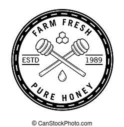 honning, emblem, bi