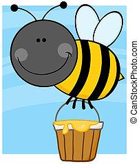 honning, flyve, spand, bi