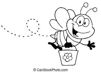honning, hvid, flyve, sort, bi