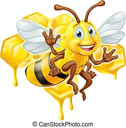 honning, karakter, cartoon, bi