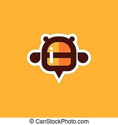 honning, logo, bi, ikon