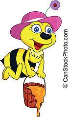 honning, morsom, spand, cartoon, bi