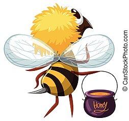 honning, pot, flyve, bi