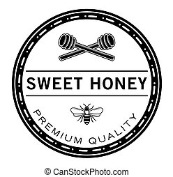 honning, sød, emblem, bi