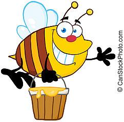 honning spand, flyve, bi