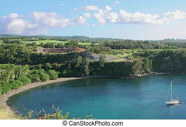 Honolua Bay Maui Hawaii - Honolua Bay with white clouds in...
